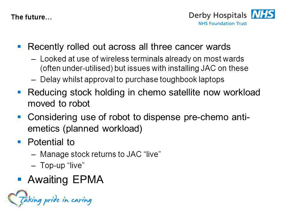 Awaiting EPMA Recently rolled out across all three cancer wards