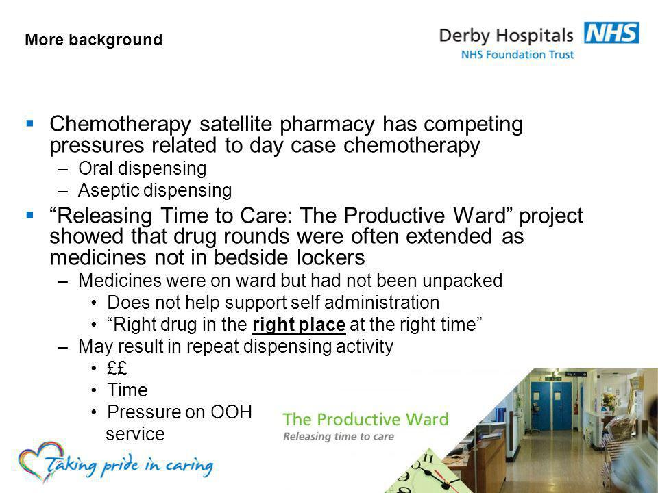 More background Chemotherapy satellite pharmacy has competing pressures related to day case chemotherapy.