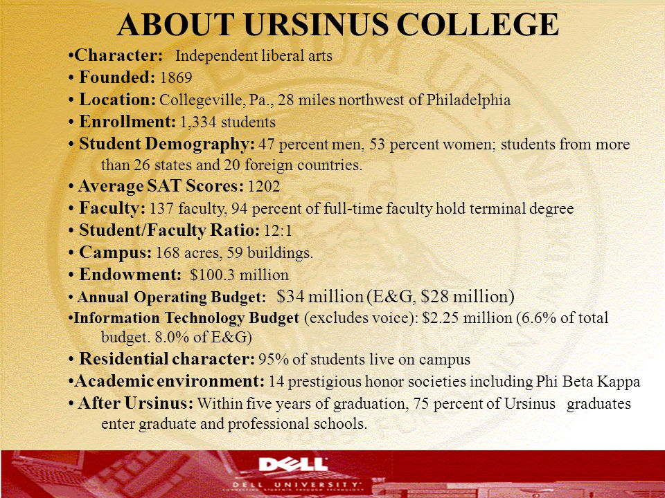ABOUT URSINUS COLLEGE T Character: Independent liberal arts