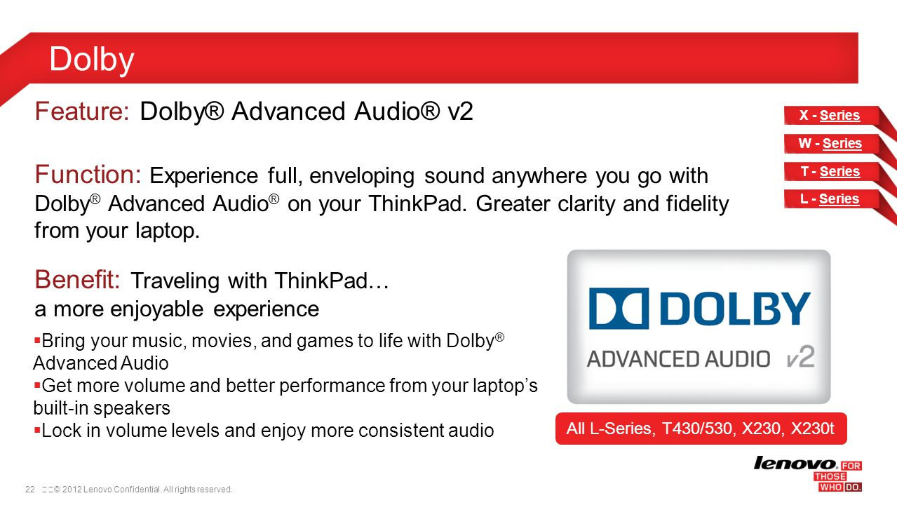 Dolby Feature: Dolby® Advanced Audio® v2