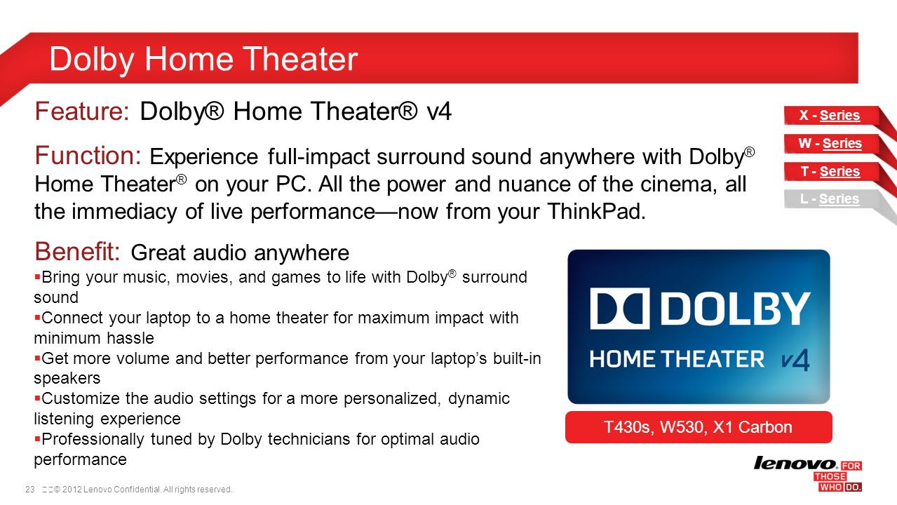 Dolby Home Theater Feature: Dolby® Home Theater® v4