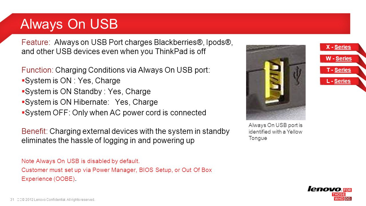 Always On USB Feature: Always on USB Port charges Blackberries®, Ipods®, and other USB devices even when you ThinkPad is off.