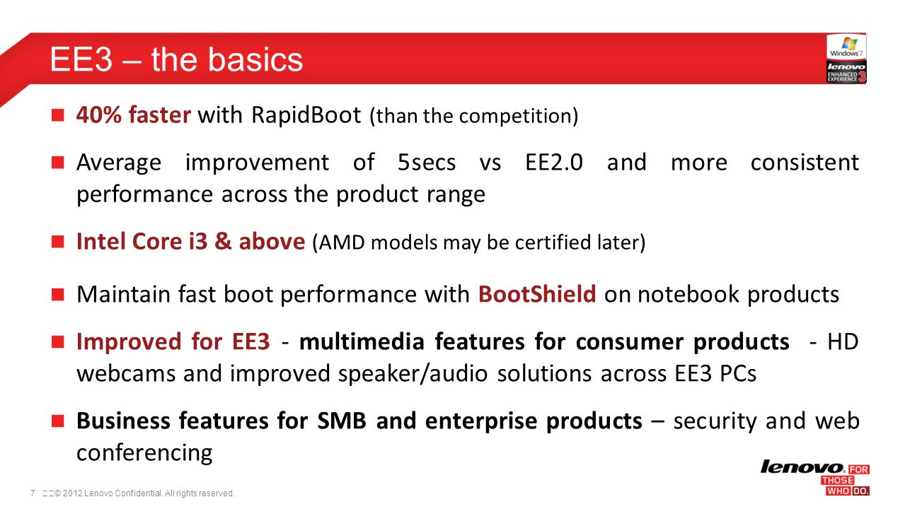 EE3 – the basics 40% faster with RapidBoot (than the competition)