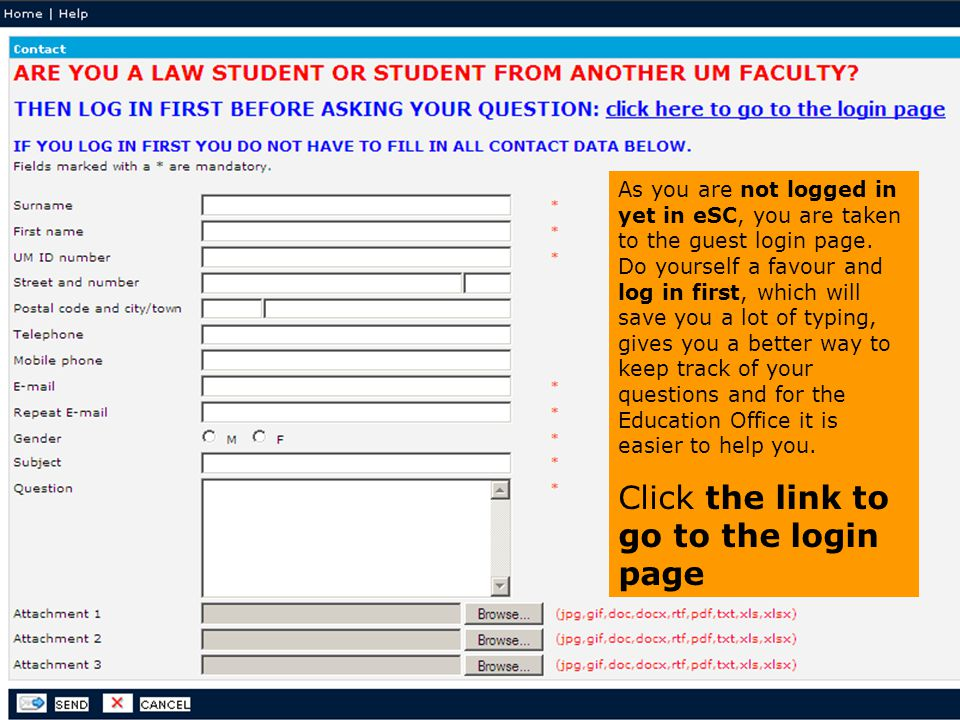 Click the link to go to the login page