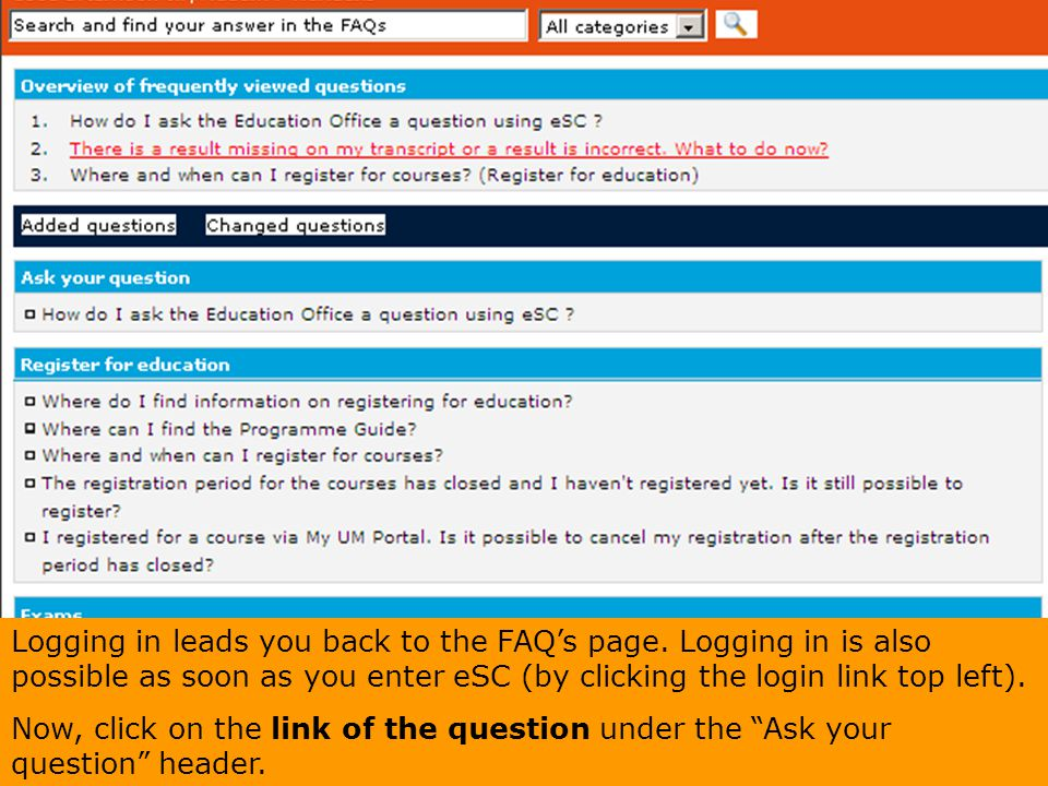 Logging in leads you back to the FAQ's page
