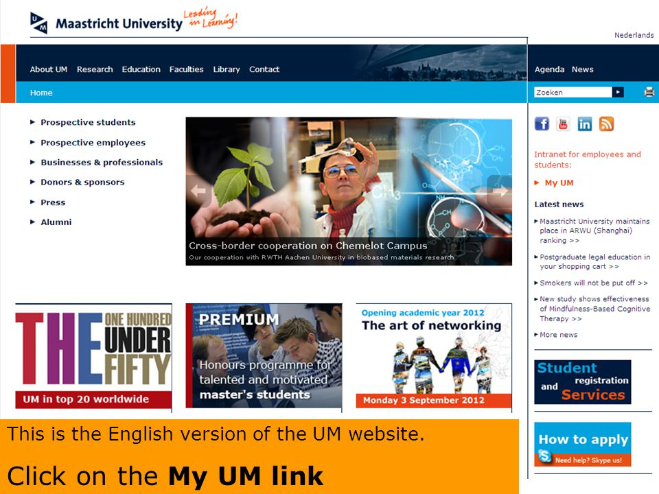 This is the English version of the UM website.