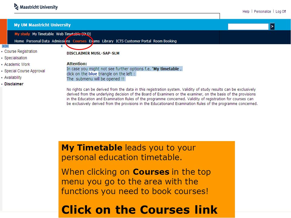 Click on the Courses link