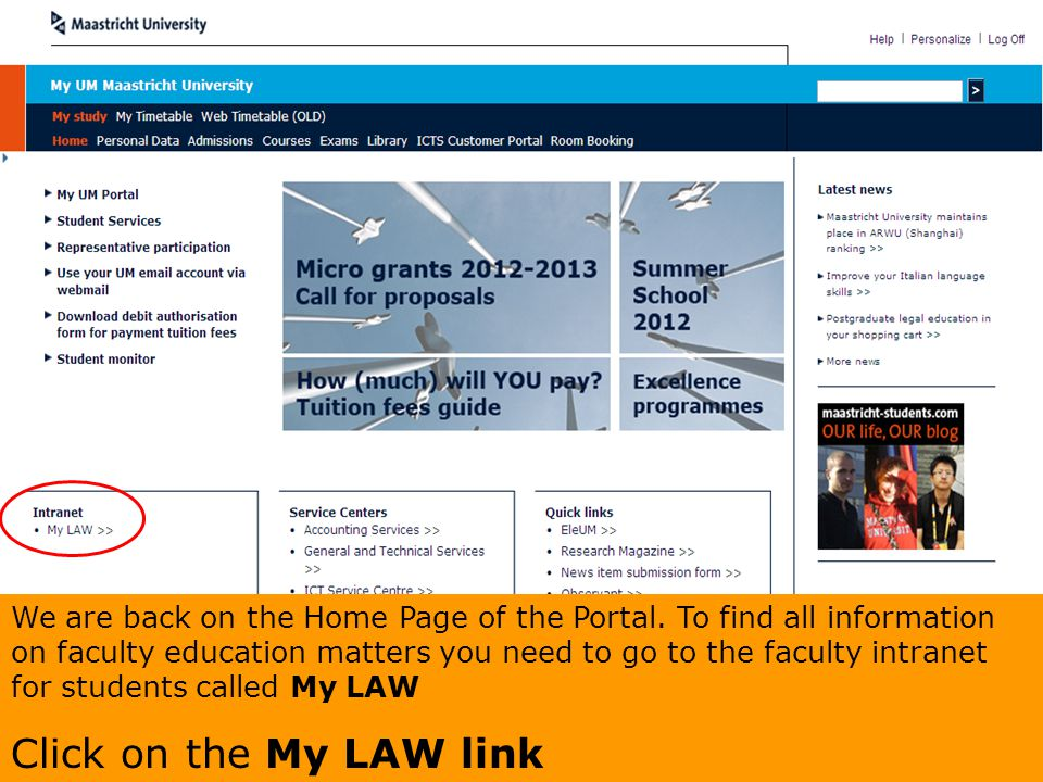We are back on the Home Page of the Portal