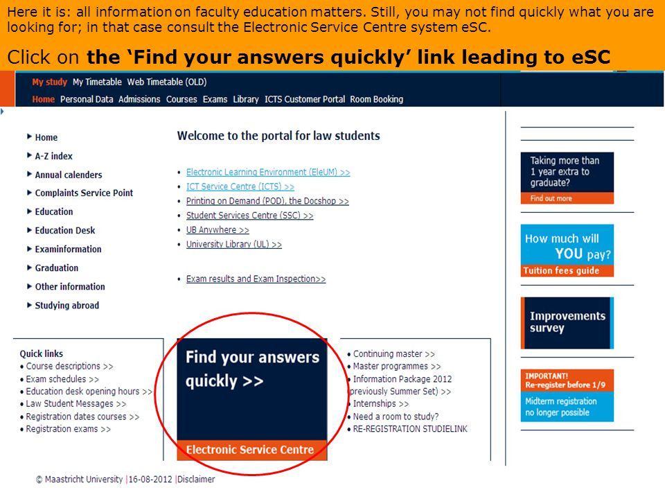 Click on the 'Find your answers quickly' link leading to eSC