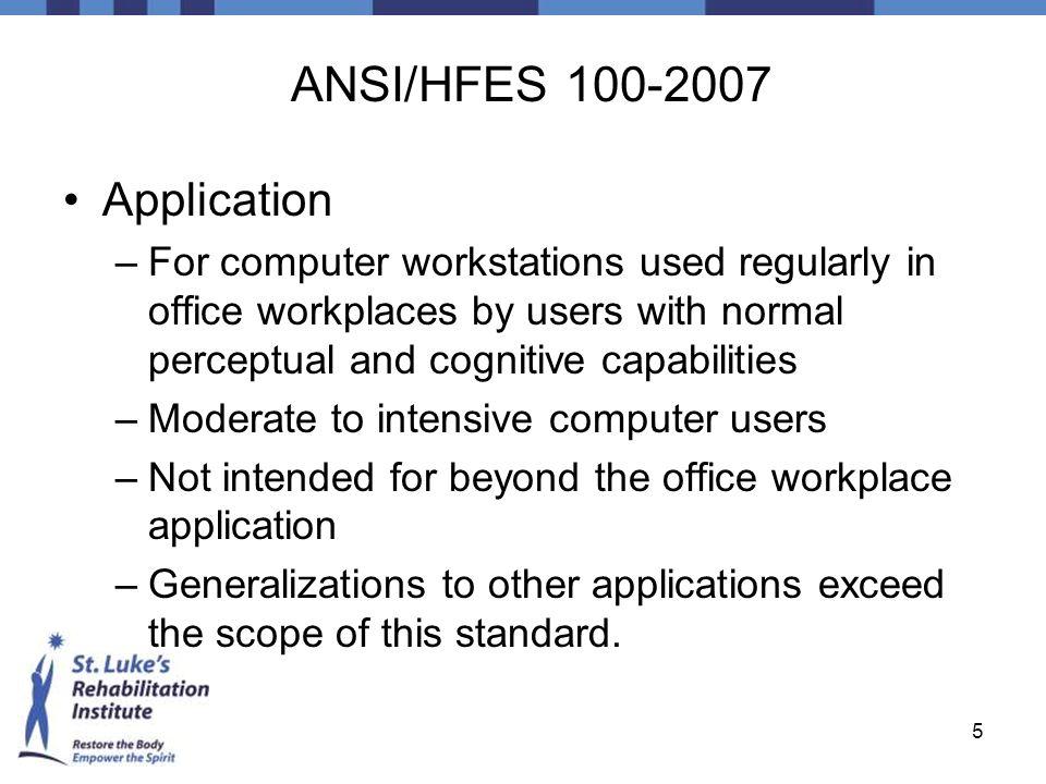 ANSI/HFES 100-2007 Application