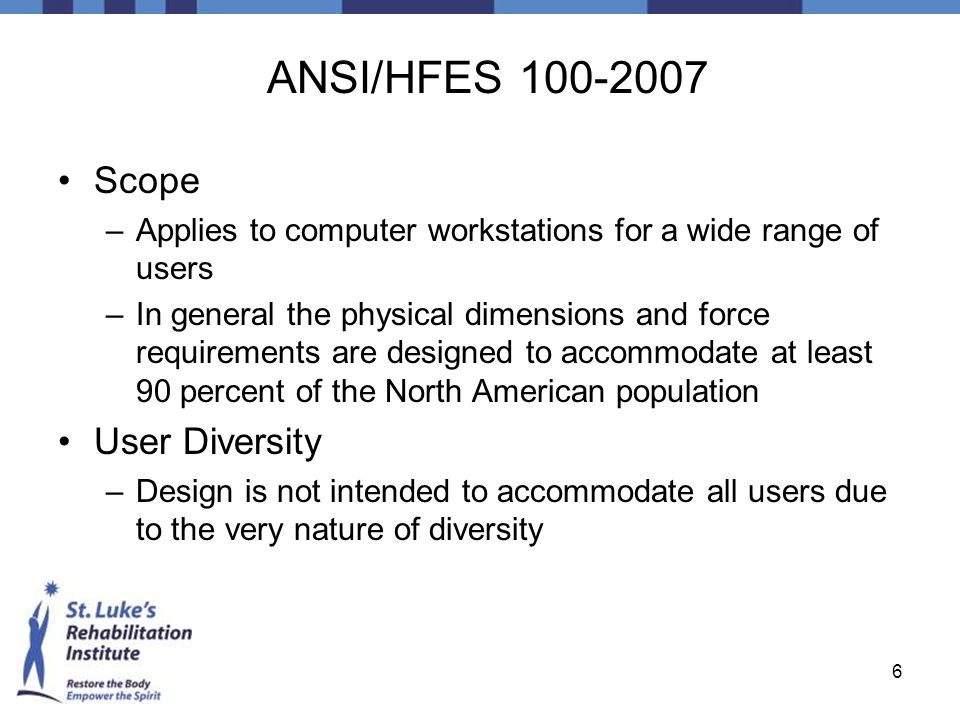 ANSI/HFES 100-2007 Scope User Diversity
