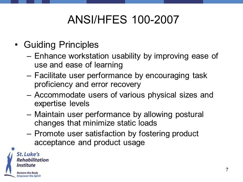 ANSI/HFES 100-2007 Guiding Principles