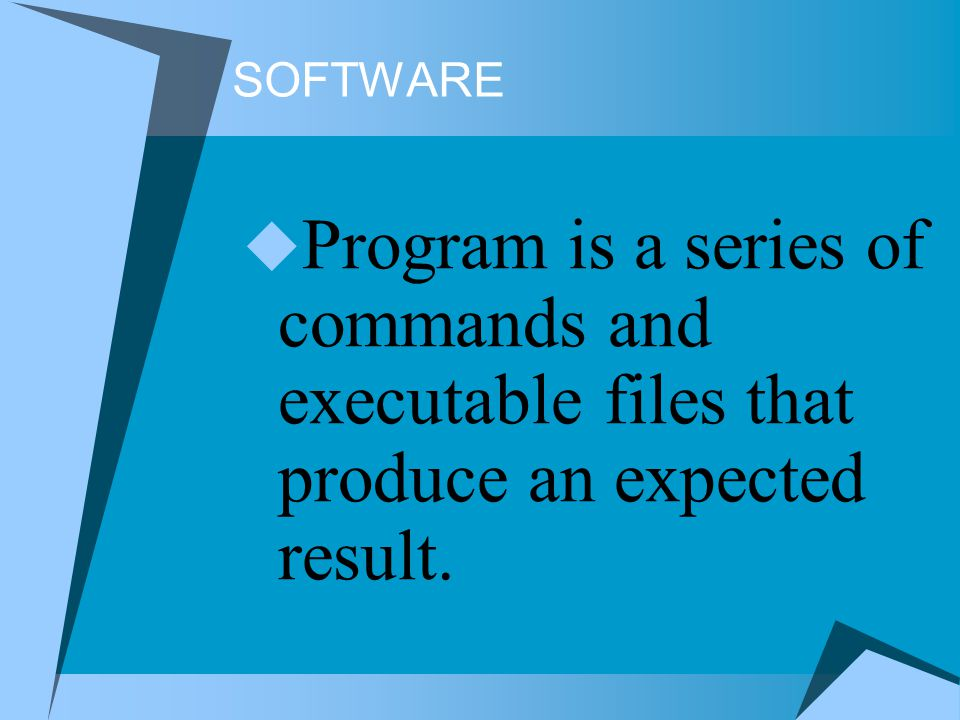 SOFTWARE Program is a series of commands and executable files that produce an expected result.