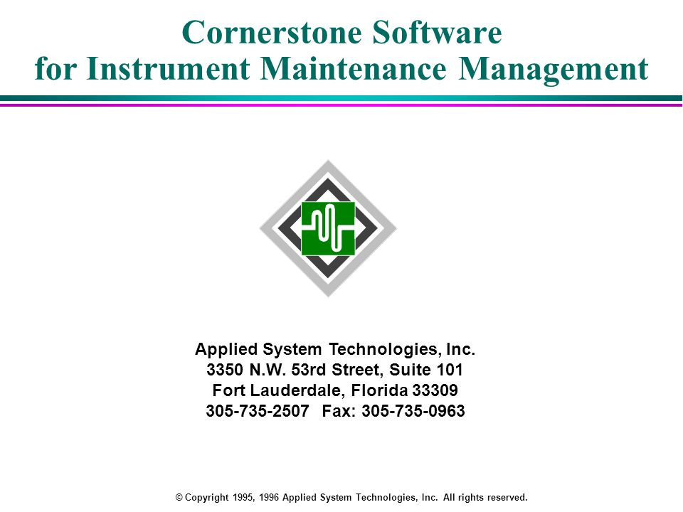 Cornerstone Software for Instrument Maintenance Management