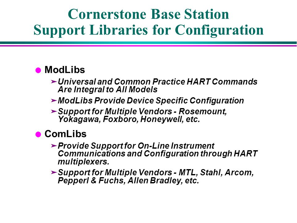 Cornerstone Base Station Support Libraries for Configuration
