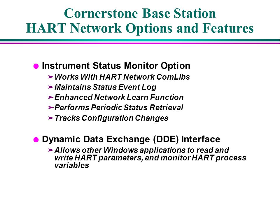 Cornerstone Base Station HART Network Options and Features