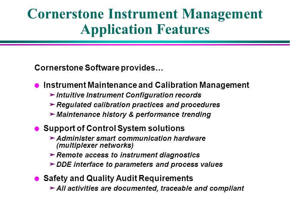 Cornerstone Instrument Management Application Features