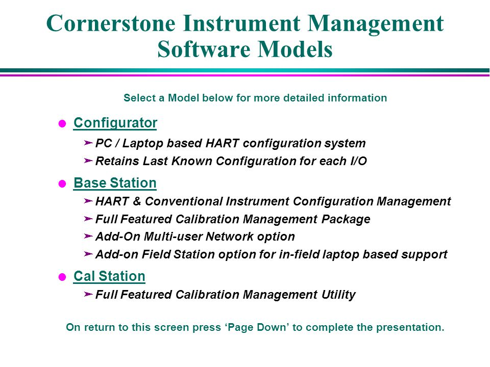 Cornerstone Instrument Management Software Models