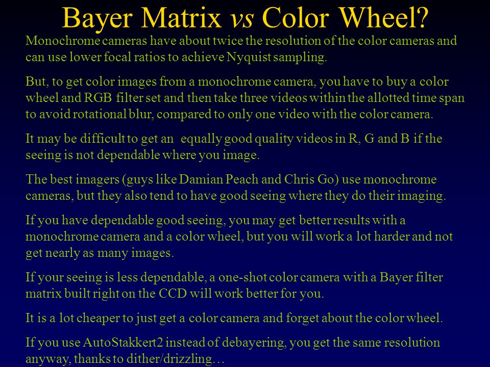 Bayer Matrix vs Color Wheel