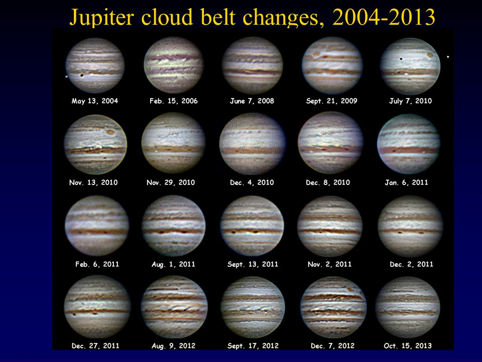 Jupiter cloud belt changes, 2004-2013