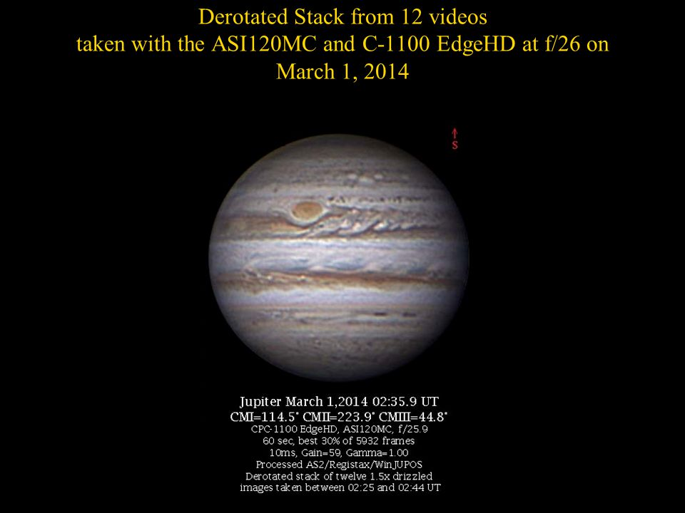 Derotated Stack from 12 videos taken with the ASI120MC and C-1100 EdgeHD at f/26 on March 1, 2014