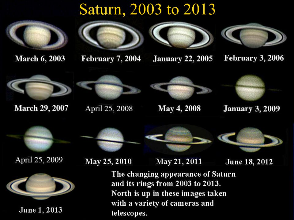 Saturn, 2003 to 2013 April. 2 2003, 2. 5x Barflow Lens 10 f/6 Newtonian. Nov. 16 2004, 5x Powermate 12.5 f/6 Newtonian.