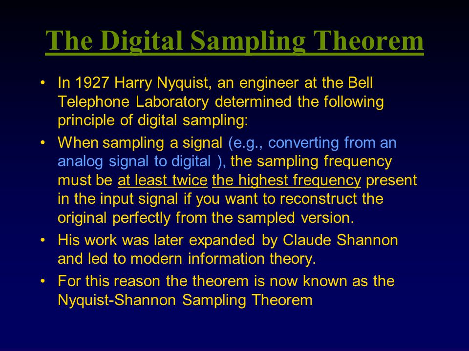 The Digital Sampling Theorem