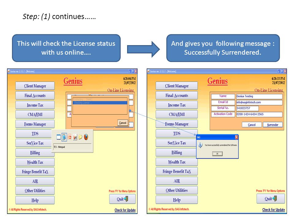 Step: (1) continues…… This will check the License status with us online….