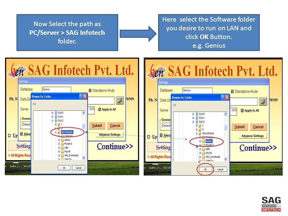 PC/Server > SAG Infotech folder.