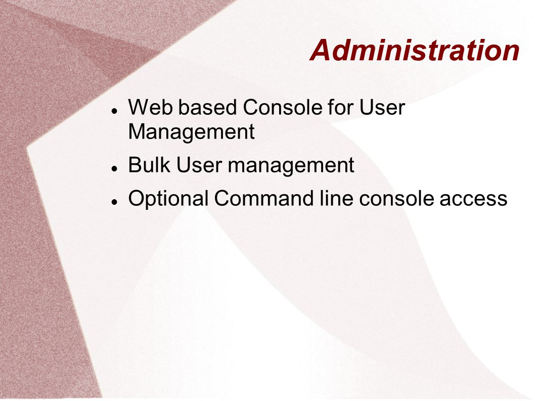 Administration Web based Console for User Management