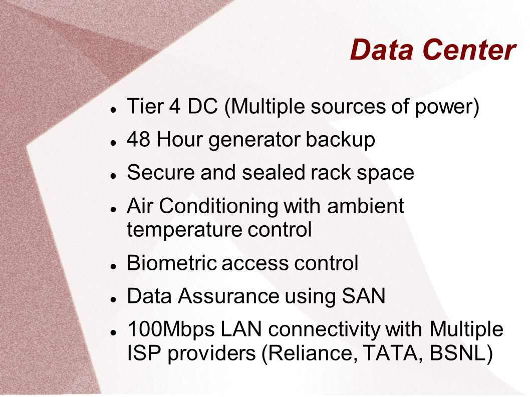 Data Center Tier 4 DC (Multiple sources of power)