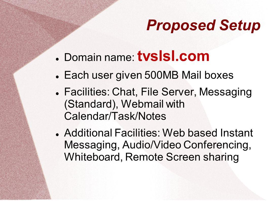 Proposed Setup Domain name: tvslsl.com
