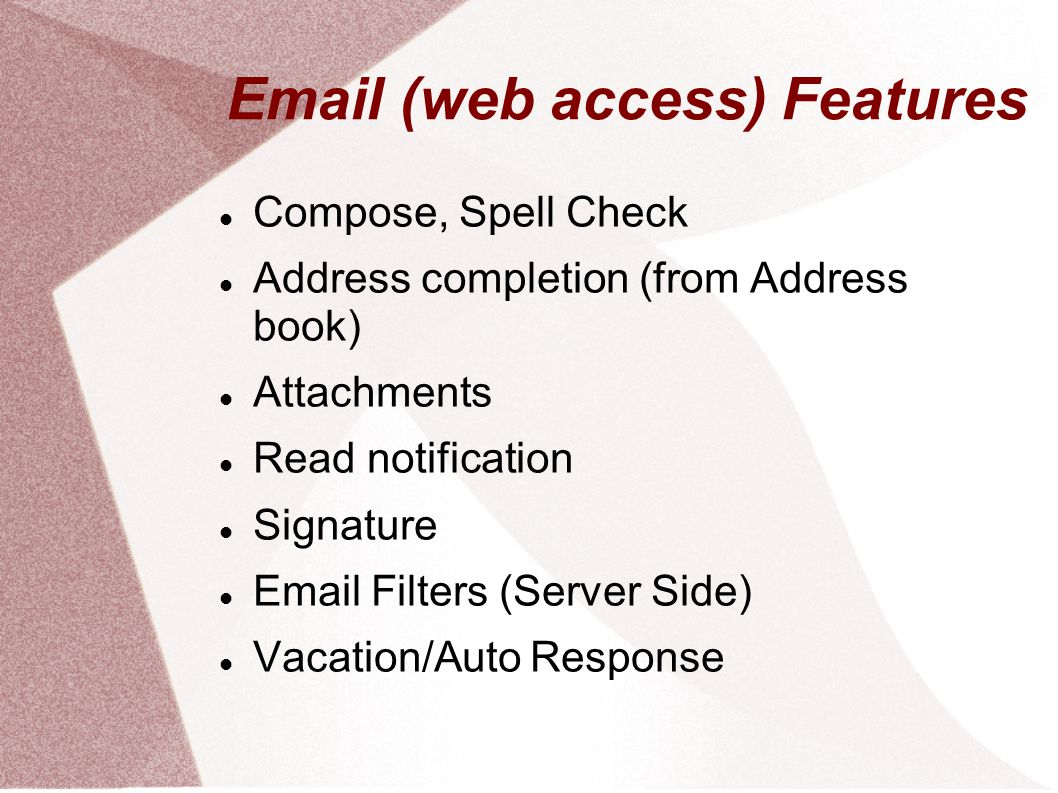 Email (web access) Features