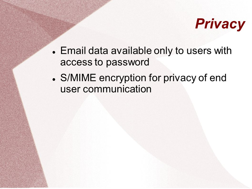 Privacy Email data available only to users with access to password