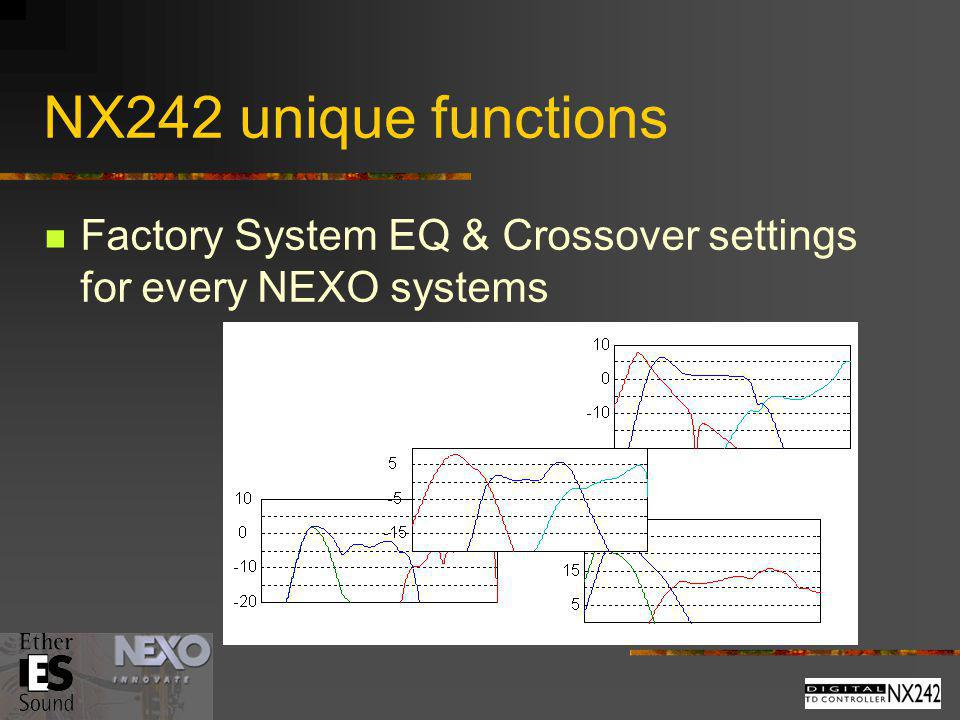 NX242 unique functions Factory System EQ & Crossover settings for every NEXO systems