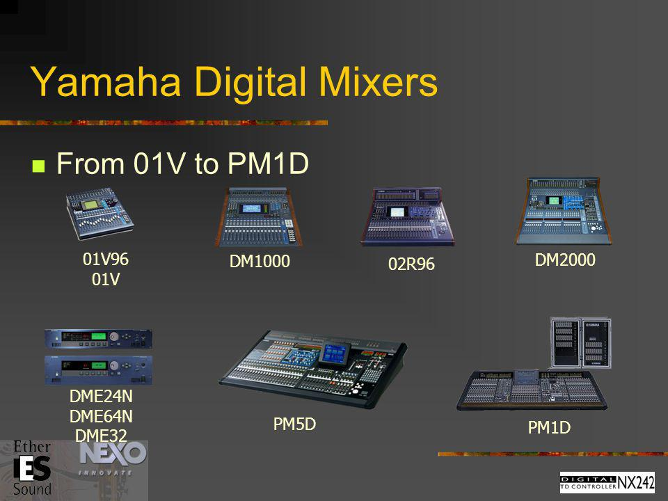 Yamaha Digital Mixers From 01V to PM1D 01V96 DM1000 DM2000 02R96 01V