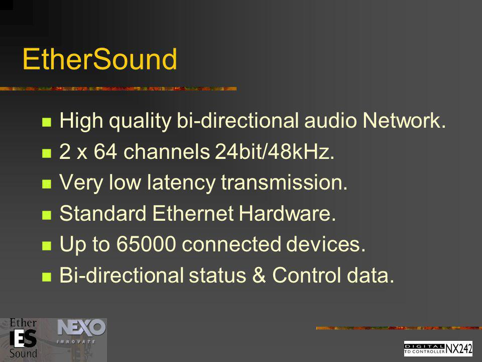 EtherSound High quality bi-directional audio Network.