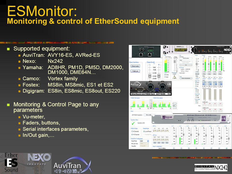ESMonitor: Monitoring & control of EtherSound equipment