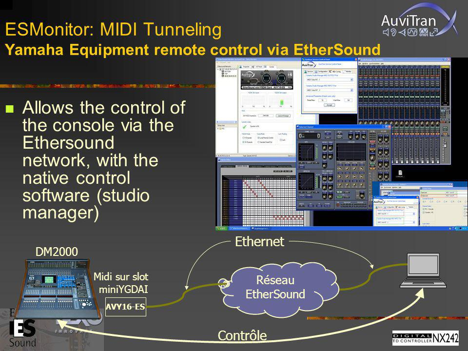 ESMonitor: MIDI Tunneling Yamaha Equipment remote control via EtherSound