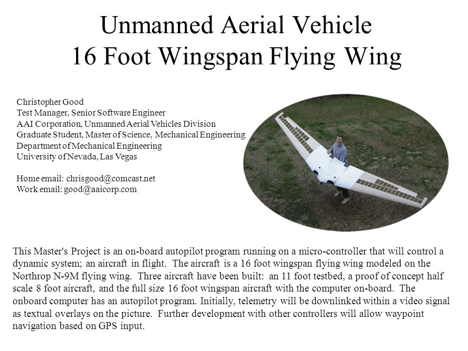 Unmanned Aerial Vehicle 16 Foot Wingspan Flying Wing