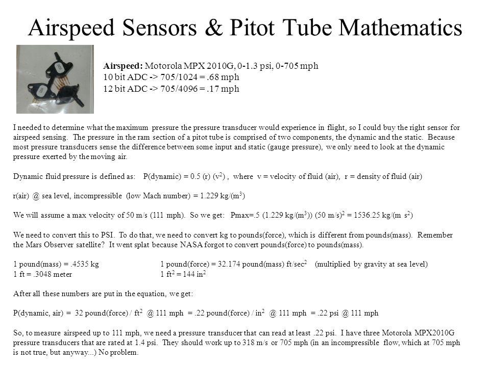 Airspeed Sensors & Pitot Tube Mathematics