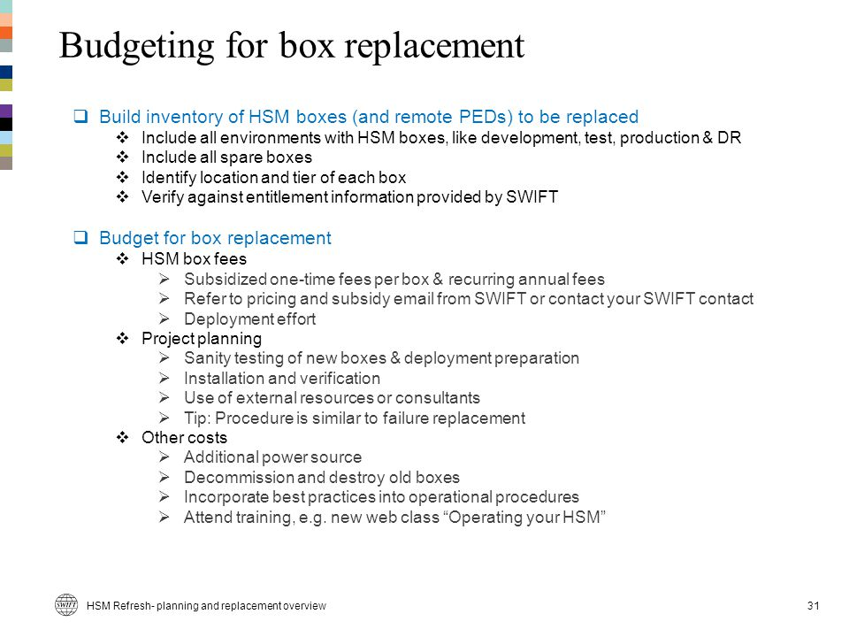Budgeting for box replacement