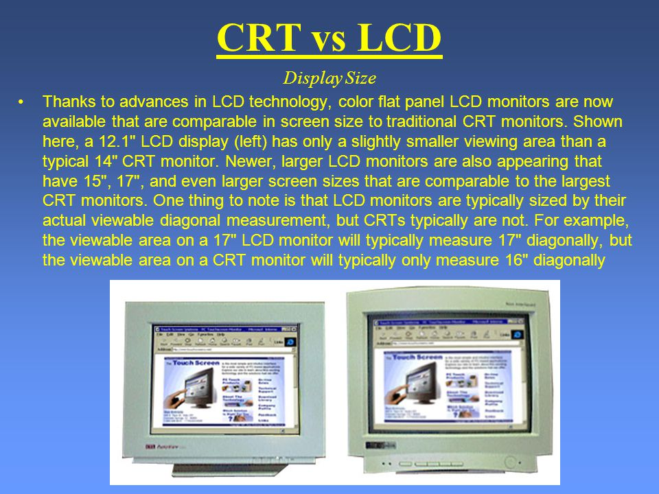CRT vs LCD Display Size.