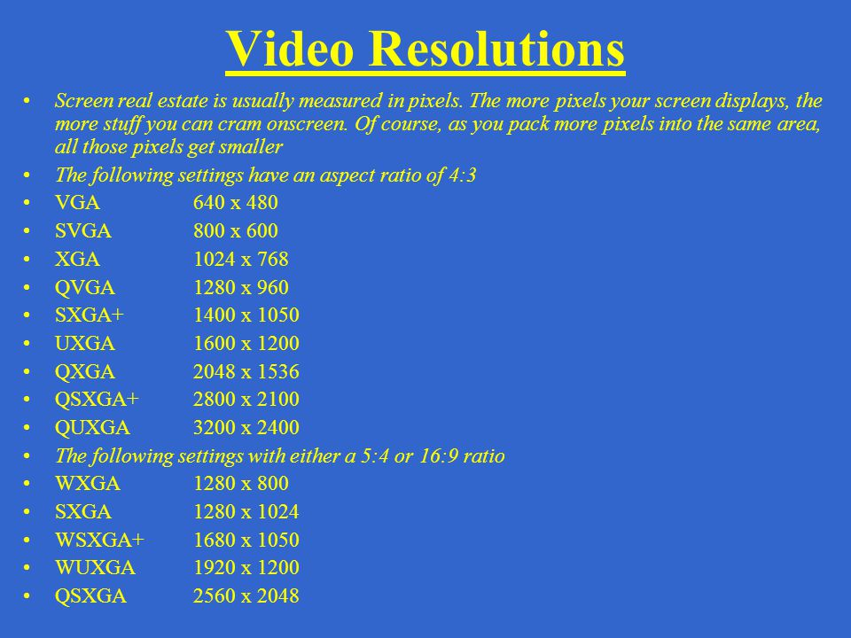 Video Resolutions