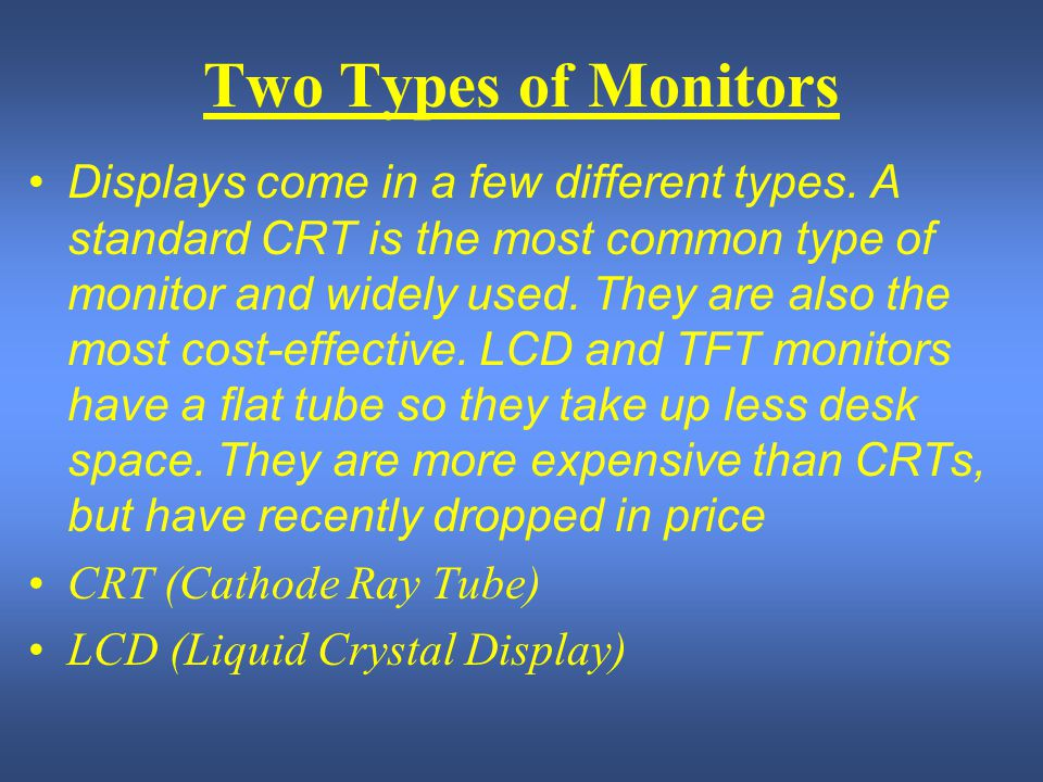Two Types of Monitors