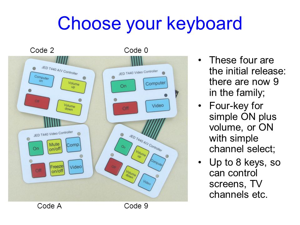 Choose your keyboard Code 2. Code 0. These four are the initial release: there are now 9 in the family;