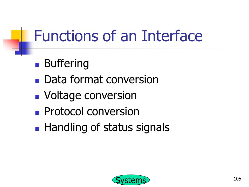 Functions of an Interface