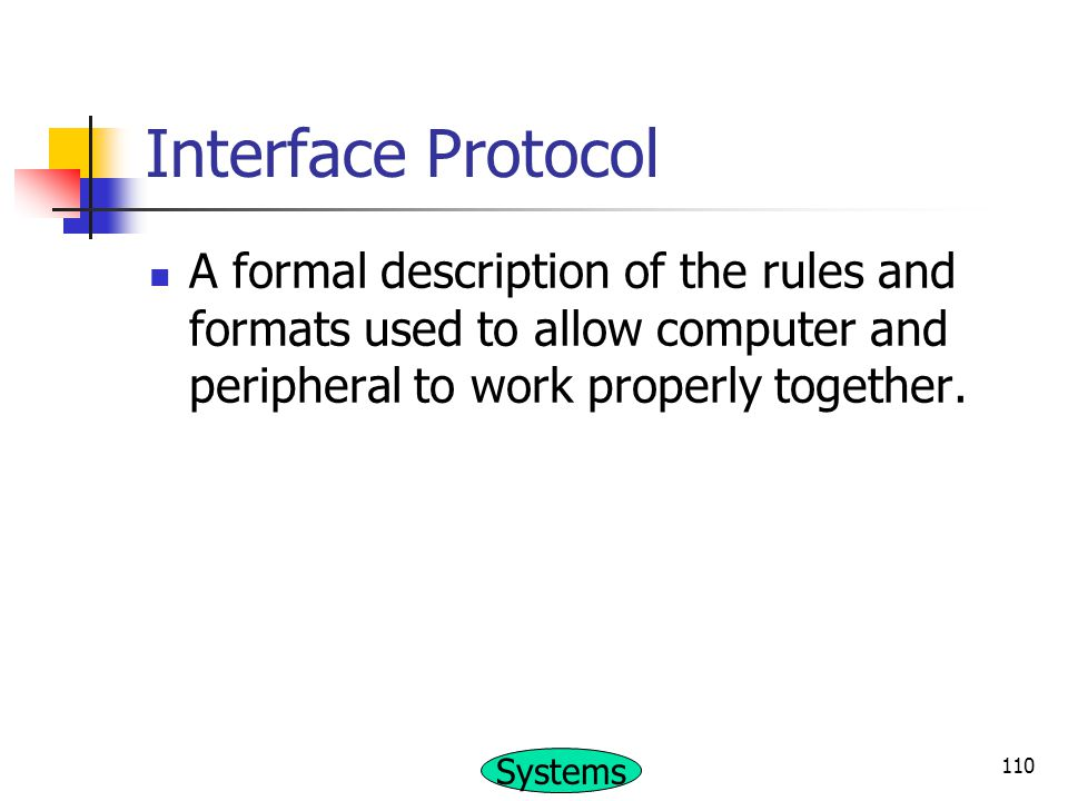 Interface Protocol A formal description of the rules and formats used to allow computer and peripheral to work properly together.