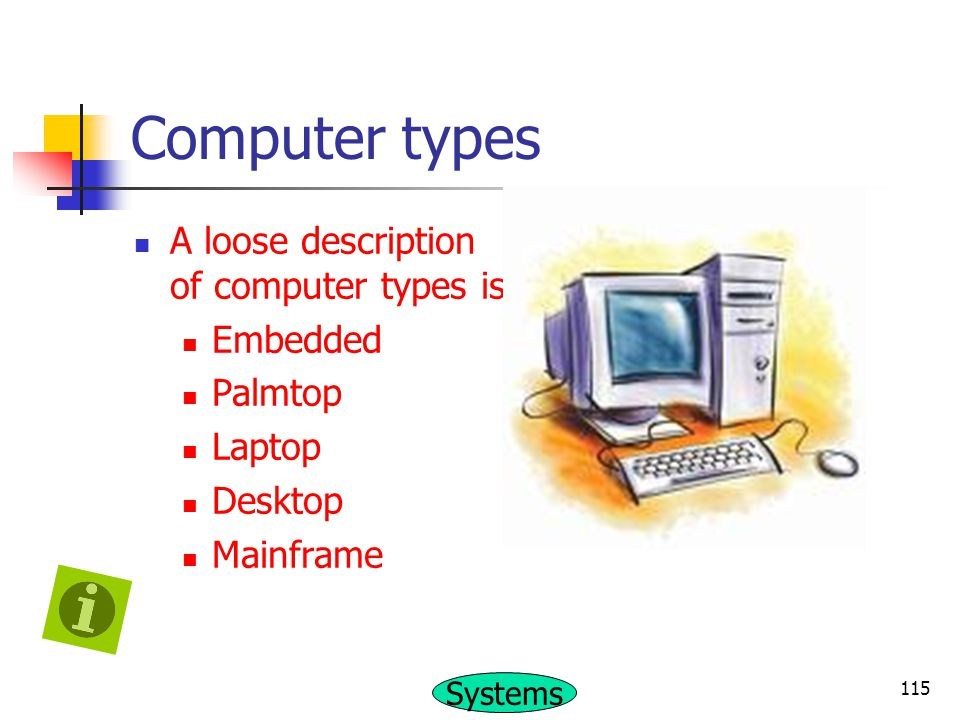 Computer types A loose description of computer types is Embedded