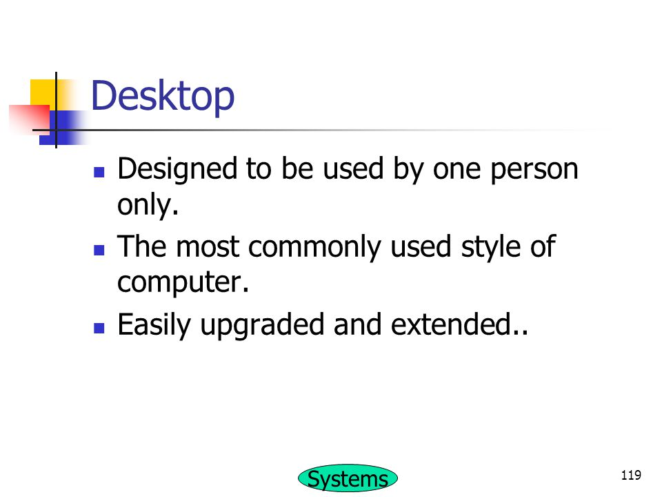 Desktop Designed to be used by one person only.